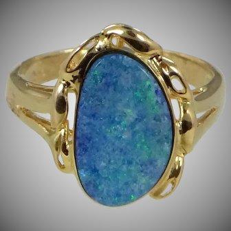 Handmade 14k Gold Black Opal Ring