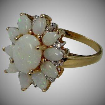 14k Gold Fiery Opals & Diamonds Lady's Size 6 1/2 Ring