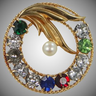14k Gold Cultured Pearl Circle Pin Curtis Jewelry Mfg. Co.