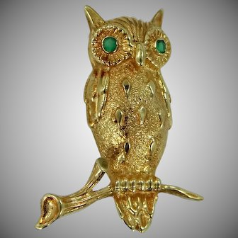 14k Solid Gold Figural Owl Pin with Natural Emerald Eyes