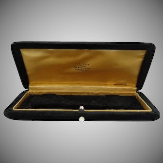 1930's Velvet Jeweler's Necklace Box with Mother of Pearl Button