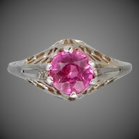 Art Deco 14k White Gold Filigree Light Red Ruby Ring | Wedding | Engagement