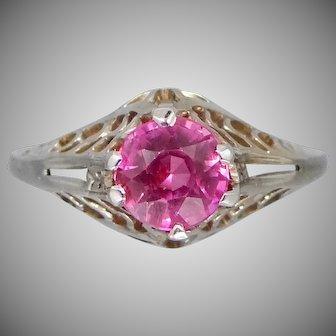 Art Deco 14k White Gold Filigree Light Red Ruby Ring   Wedding   Engagement