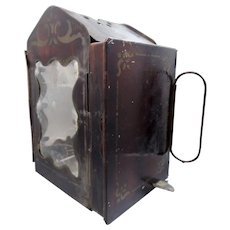 Antique Civil War Era Minor's Patent 1865 Folding Lantern with Original Candles