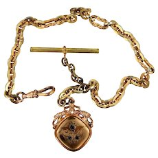 Man's Victorian Gold Fld. Watch Chain with Nice Watch Fob