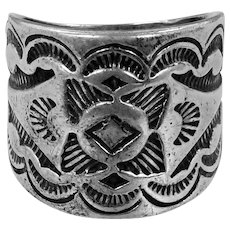 Wide Carlisle Jewelry Solid Sterling Silver Southwestern Cigar Band Ring