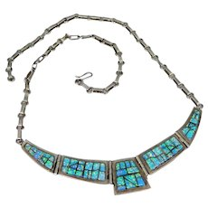 """Signed """"CS Sterling"""" Inlay Blue / Green Stones Necklace"""