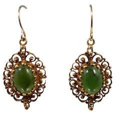 14k Gold Filigree Jade Earrings