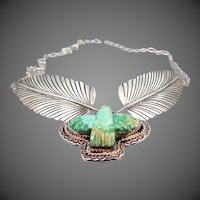 Beautiful Signed Sterling Silver Necklace & Brooch W/Carved Turquoise Thunderbird Gemstone