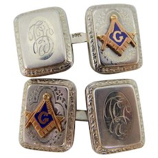 Art Deco 14k White Gold & Rose Gold Masonic Cufflinks Cuff Links