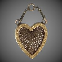 14k Gold Victorian Hairwork Heart Charm / Fob / Pendant