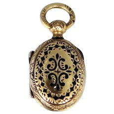 10k Gold Victorian Locket with Woven Hair Inside Hairwork Mourning