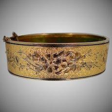 1930's Bigney Gold Filled Taille d'Epargné Bangle Bracelet