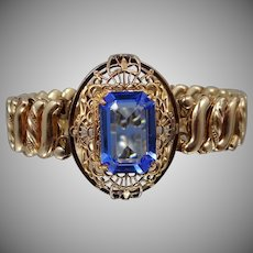 "Art Deco ""Carmen"" Filigree Blue Crystal Stretch Bracelet"