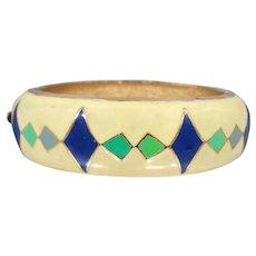 HOBE Enamel Hinged Bangle Bracelet