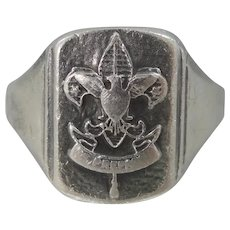 Mid Century Sterling Silver Boy Scouts of America Size 10 Ring