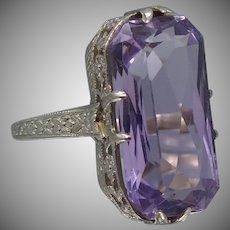 Art Deco 14k White Gold Filigree Amethyst Ring