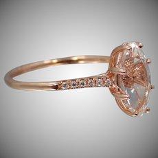 14K Rose Gold Diamonds & White Topaz Ring Engagement   Wedding