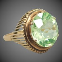 18k Rose Gold 10 Carat Peridot Retro Era Ring