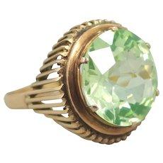 18k Rose Gold 10 Carat Peridot Retro Era Ring