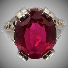 Art Deco 14k White Gold Filigree Ruby Ring
