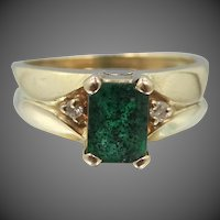 14k Gold Natural Emerald & Diamonds Ring