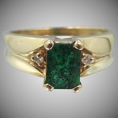 14k Gold Natural Emerald & Diamonds Ring