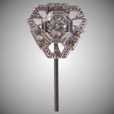 18k White Gold Filigree Art Deco Era Stickpin Stick Pin