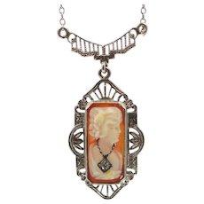 Art Deco 14k White Gold Filigree Habille Cameo Diamond Necklace