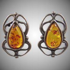 Nice Sterling Silver & Genuine Baltic Amber Pierced Earrings
