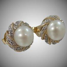 14k Gold Pearl & Diamond Earrings