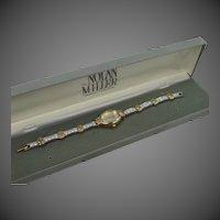 Nolan Miller Glamour Collection Quartz Wristwatch with Tennis Bracelet Band w/Box