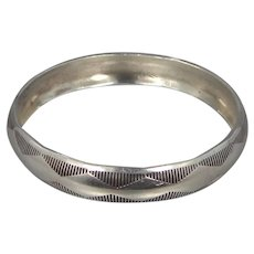 J. ARVIGO Solid Sterling Silver Southwestern Bangle Bracelet