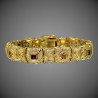 Gorgeous Etruscan Style Sterling Vermeil Gemstones Flexible Links Bracelet