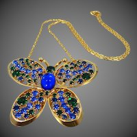 Vintage Figural Butterfly Rhinestone Necklace