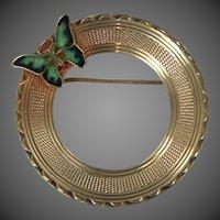 14k Gold Enamel Butterfly Circle Pin
