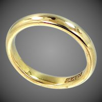 Art Deco 18k Solid Gold Comfort Edge Stacking Band | Wedding Ring