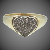 Lady's Pretty 14k Gold & Diamonds Ring with Heart Motif Size 9 3/4