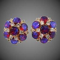 RARE Hattie Carnegie Extraordinary Purple / Blue Watermelon Earrings