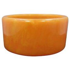 WIDE Orange Marbled Bakelite Bangle Bracelet