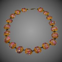 Beautiful Italian Glass Wedding Cake Bead Necklace Flat Round Beads with Roses & Goldstone