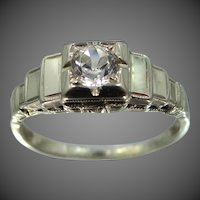 Art Deco 14k White Gold Simulated Diamond Engagement Ring
