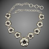 Heavy Mexico Sterling Silver Floral Necklace