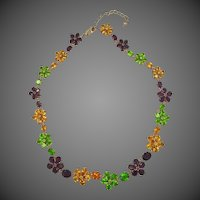 Gorgeous Sterling Vermeil & Colored CZ's Necklace