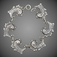 Jewelart Sterling Silver Art Deco Paisley Design Bracelet