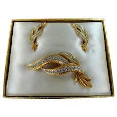 Charel Pin & Earrings Diamante Rhinestones Set Mint in Original Box