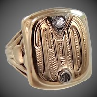 "1930's 10k Gold & Diamonds Signet Ring ""TAD"""