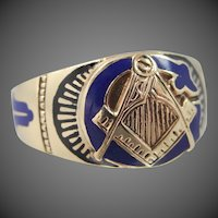 10k Gold & Enamel Masonic Ring Circa 1920's