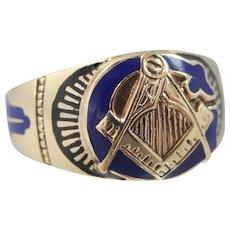 10k Gold & Enamel Masonic Ring Circa 1920's