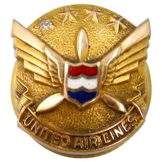 10k Gold United Airlines Diamond Service Pin